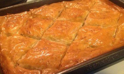 домашняя пахлава из теста фило с грецкими орехами и сладким ароматным сиропом